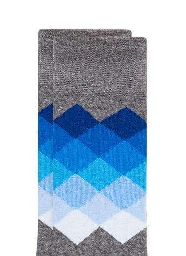 Mavi Baskılı  Soket Çorap Gri